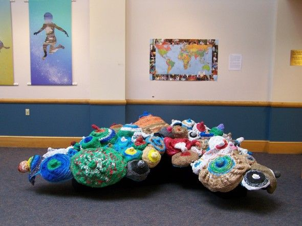 'something in the water' created by Wendy Osher...I contributed a plastic bag crocheted 'breast' for this piece