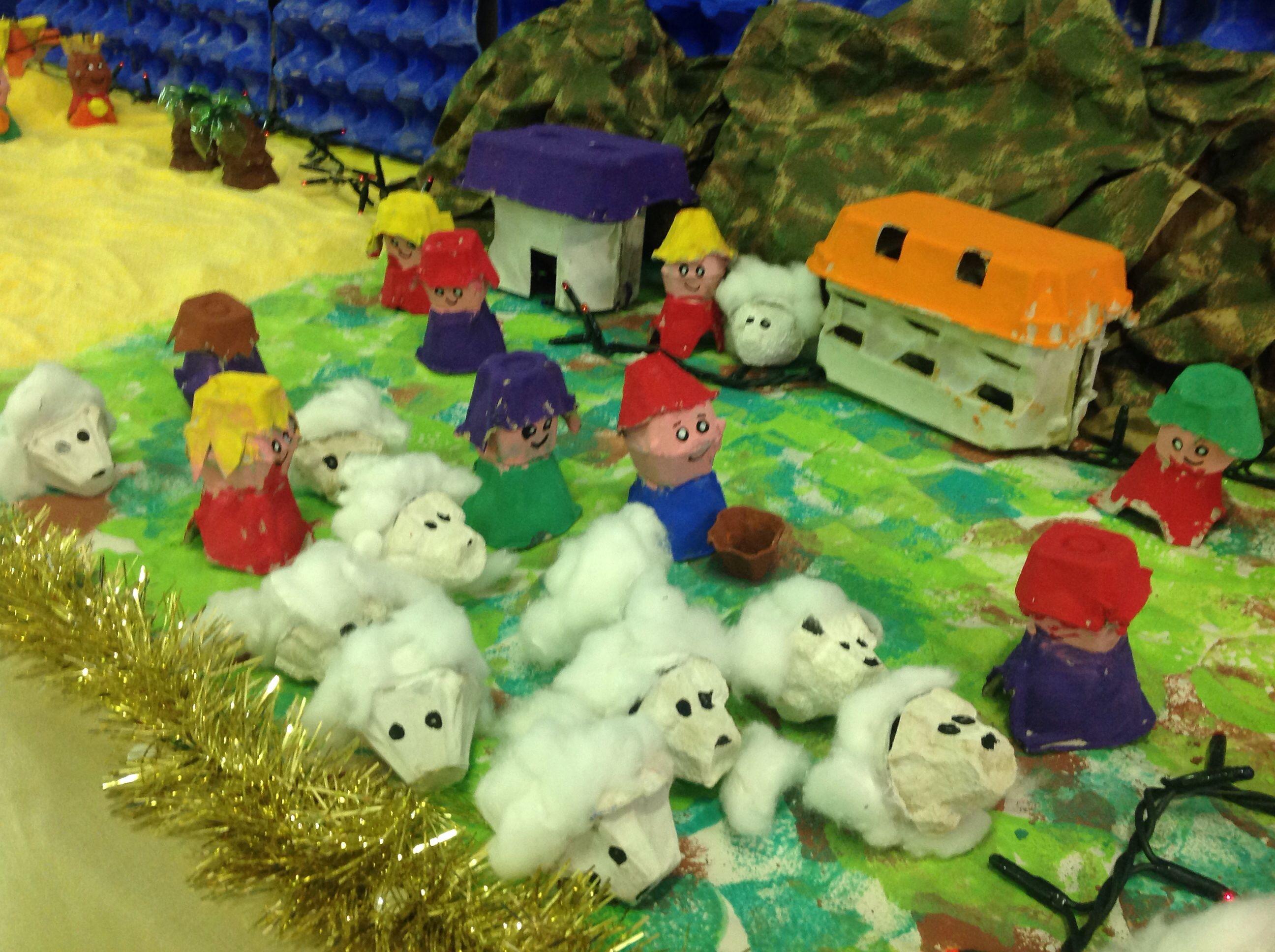 Das Bambini ~ Il gregge presepe realizzato dai bambini del cerchio verde con i