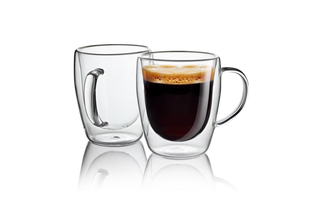 Jecobi Set Of 2 Double Wall Insulated Coffee Mug Glass Cup With Gift
