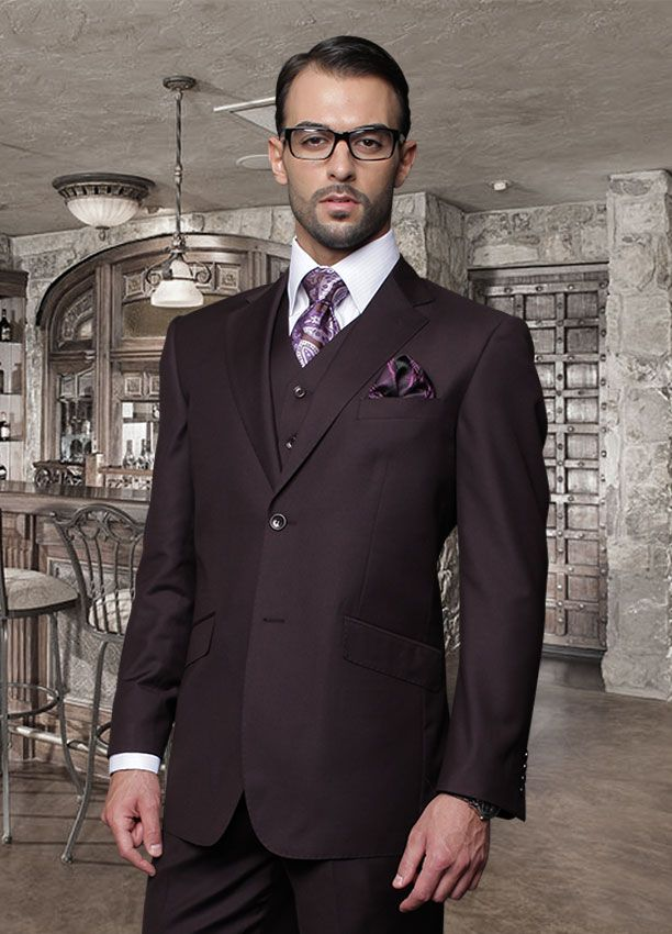 TZ-100 CLASSIC 3PC 2 BUTTON SOLID PLUM MENS SUIT BY TESSORI UOMO ...