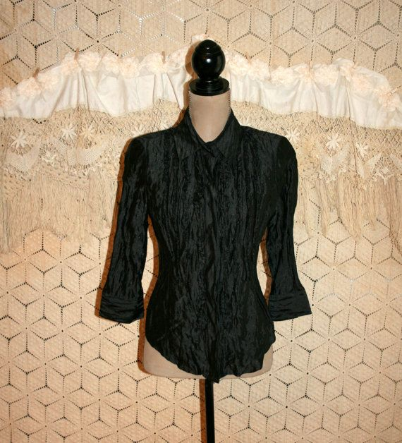 Dressy Black Blouse Silk 3/4 Sleeve Crinkle by MagpieandOtis ...