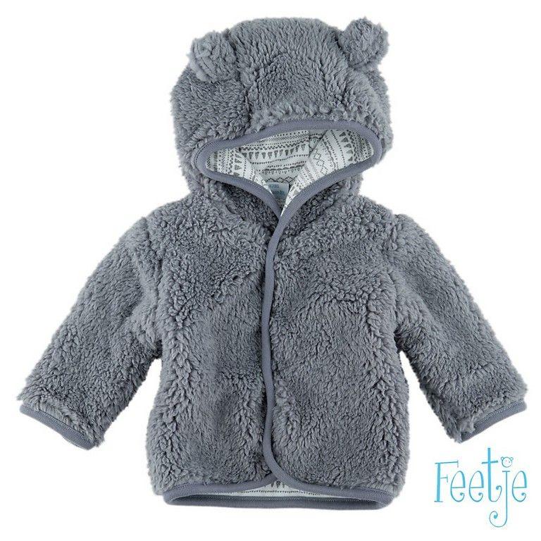 Teddy Jas Grijs.Teddy Jas Grijs Feetje Baby Unisex Babykamer Hooded Jacket