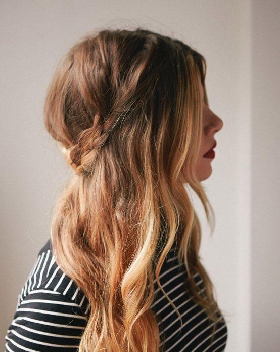 slightly messy hair with braid