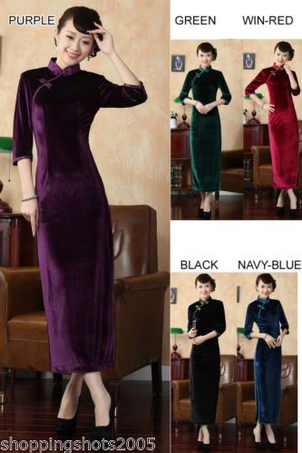 Chinese long sleeve cheongsam Stretch velvet dress gown qipao 140301 size 30 -40 145b7359ff3a