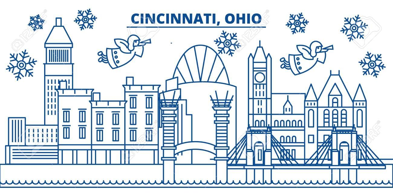 USA Ohio Cincinnati winter city skyline Merry Christmas and Happy New Year decorated banner Winter greeting card with snow and Santa Claus Flat line vector linear christm...