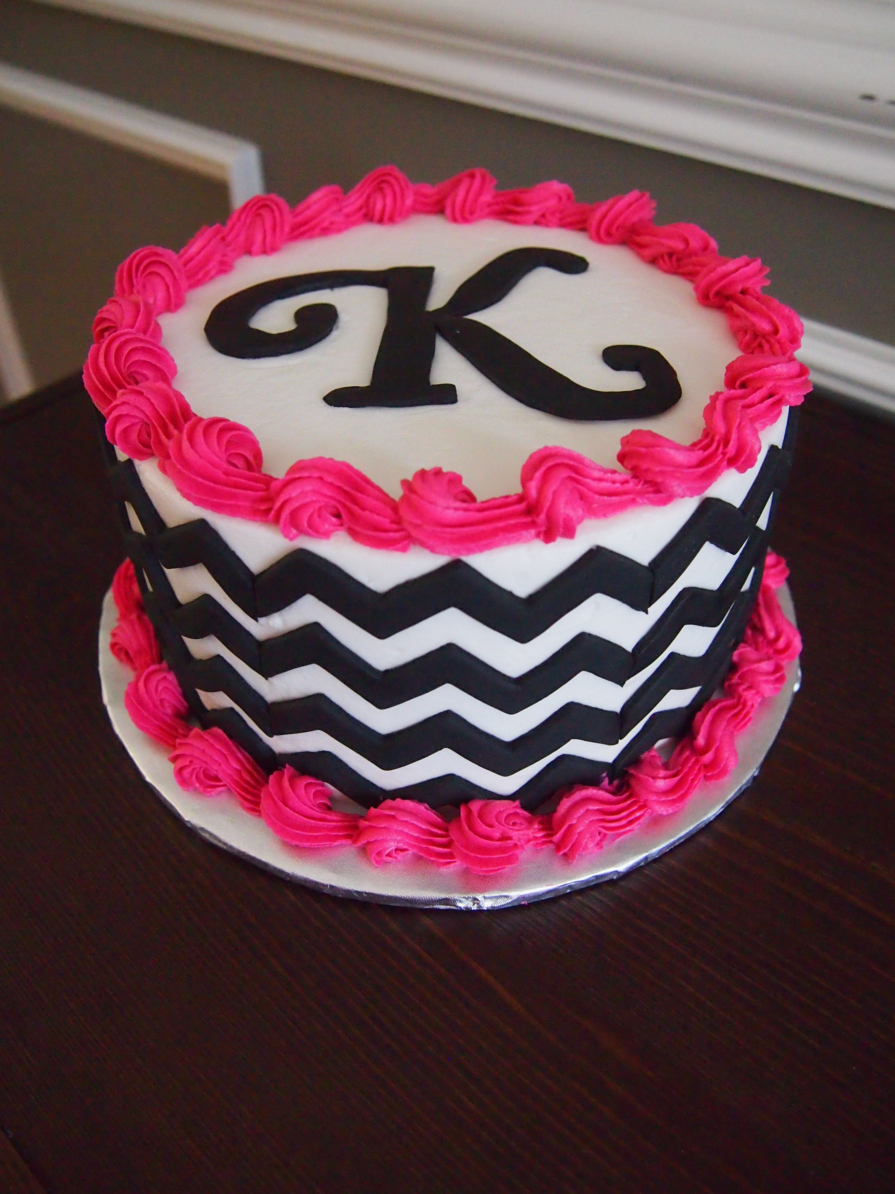 Simple Chevron Cake With Images Chevron Birthday Cakes