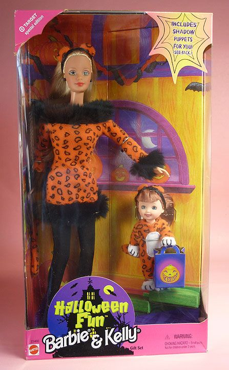 d86fec9e79ca HALLOWEEN FUN BARBIE & KELLY GIFT SET (1998) (Target Exclusive) Includes  Barbie & Kelly in Leopard costumes -
