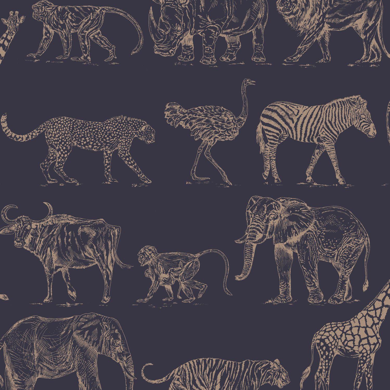 Safari Midnight Wallpaper in 2020 Navy wallpaper, Animal
