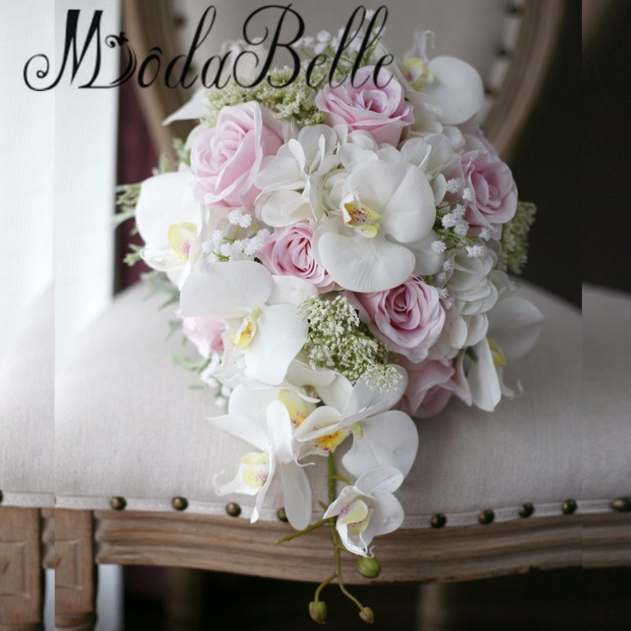 Click To Buy Modabelle Ivory Pink Cascading Bridal Bouquets De