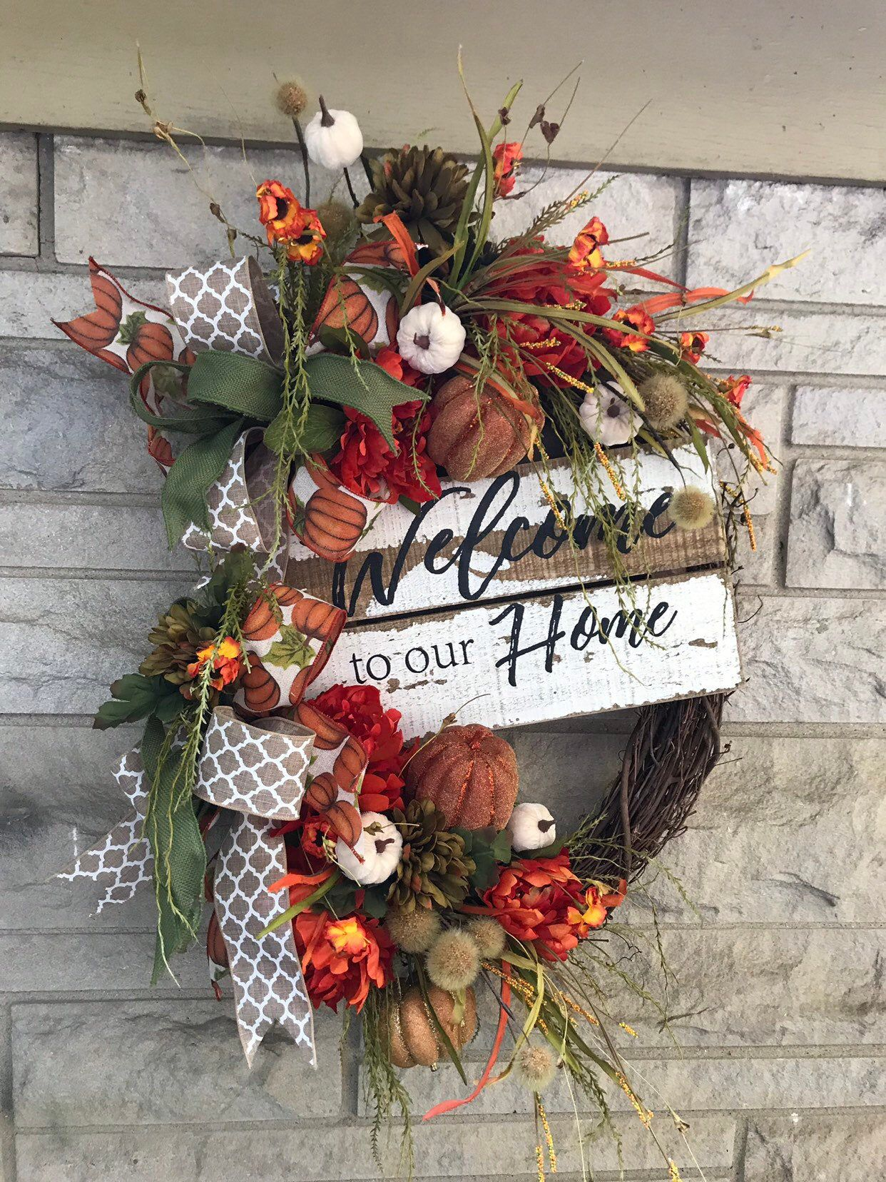 Photo of Fall grapevine wreath, fall welcome wreath for front door, distressed welcome sign, pumpkin, thanksgiving