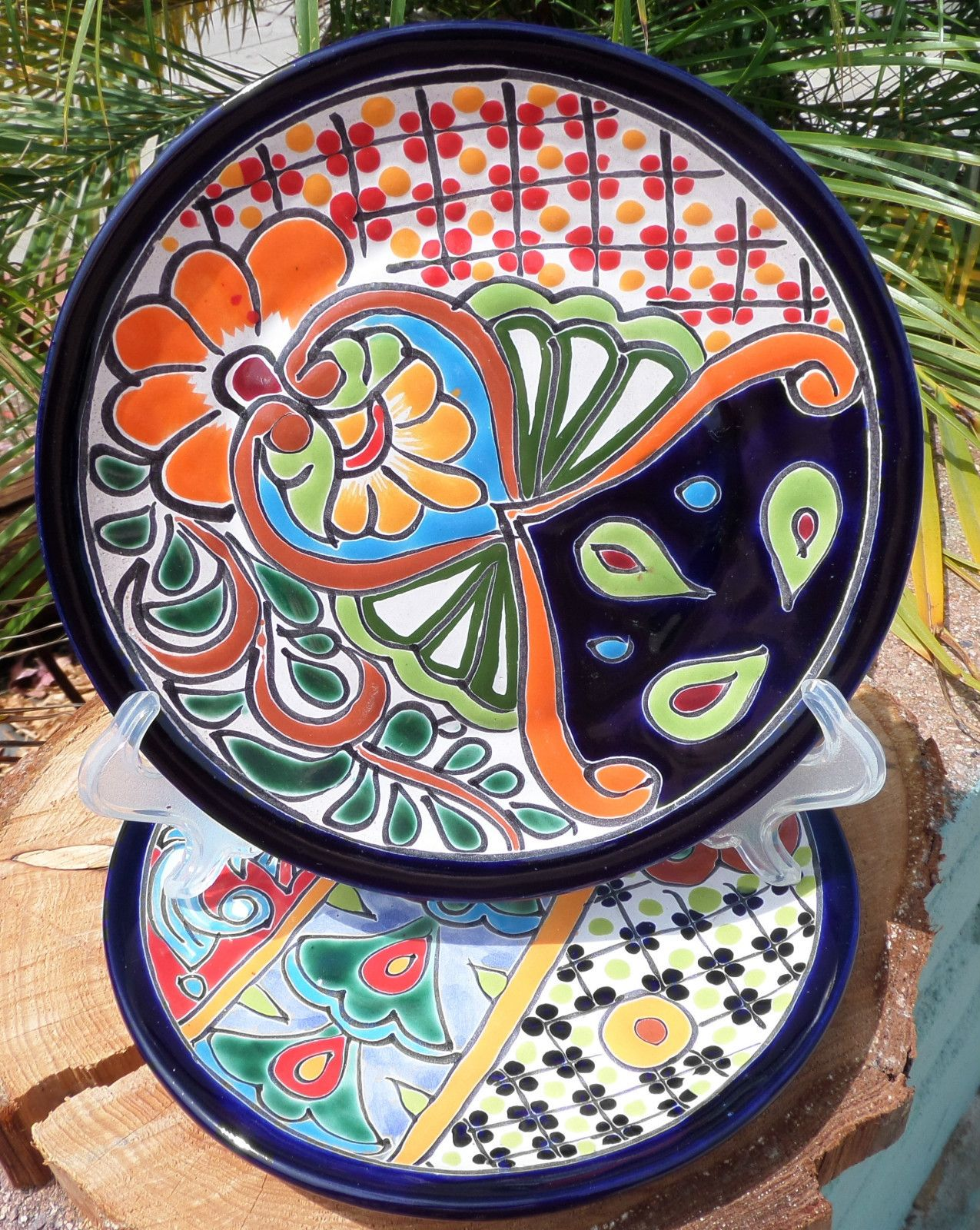 2 Talavera Mexican Pottery Lunch Salad Plates Plate 8  Hand Painted & 2~Talavera Mexican pottery lunch salad plates Plate 8