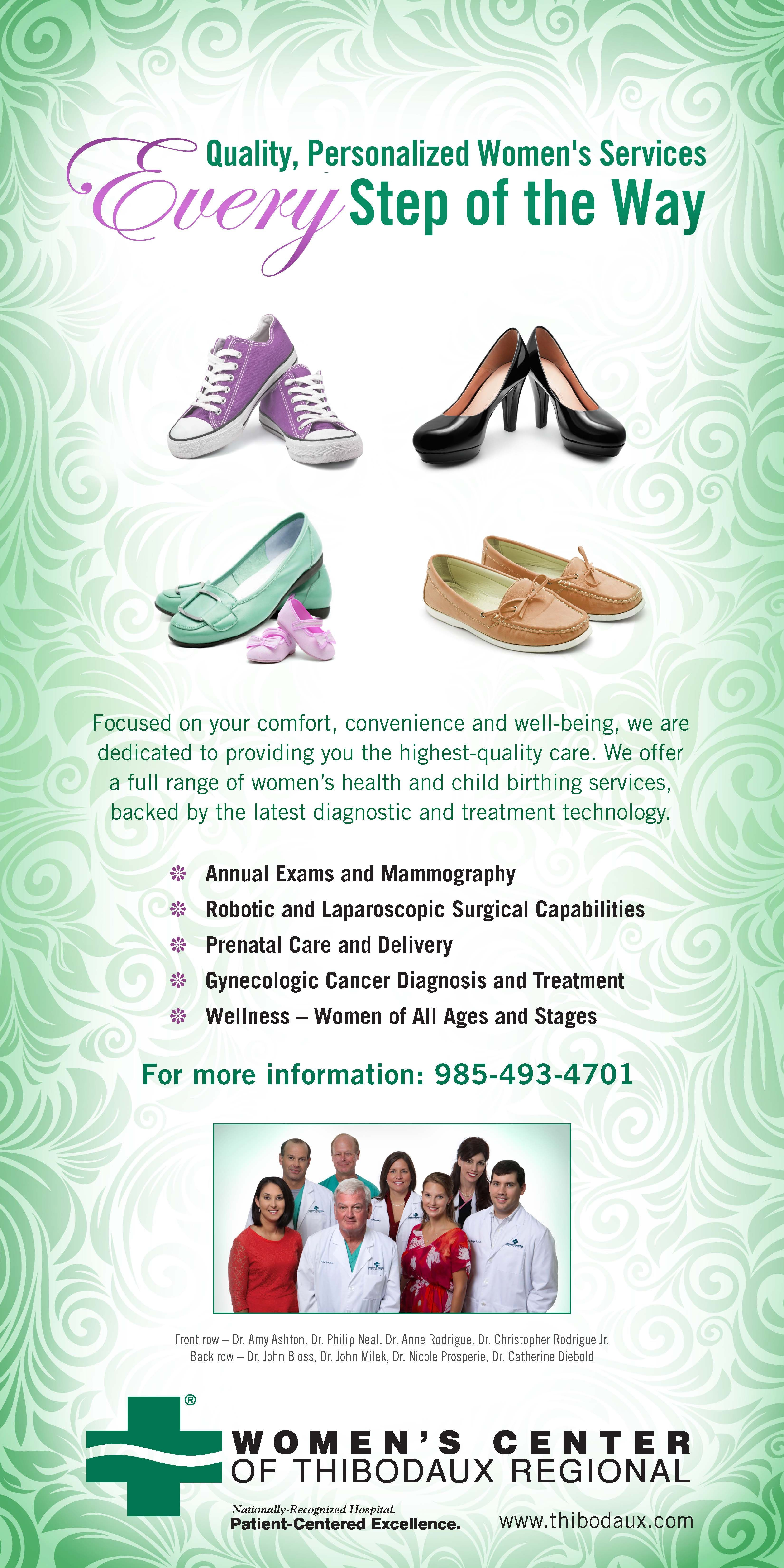 We love babies and we love shoes! Great way to communicate OB/GYN services for every stage of womanhood. Healthcare marketing campaign created for Thibodaux Regional Medical Center by TotalCom Marketing, Tuscaloosa, AL.