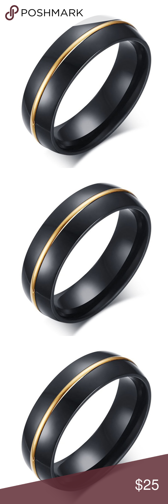 Men black stainless steel gold ring wedding boutique in my