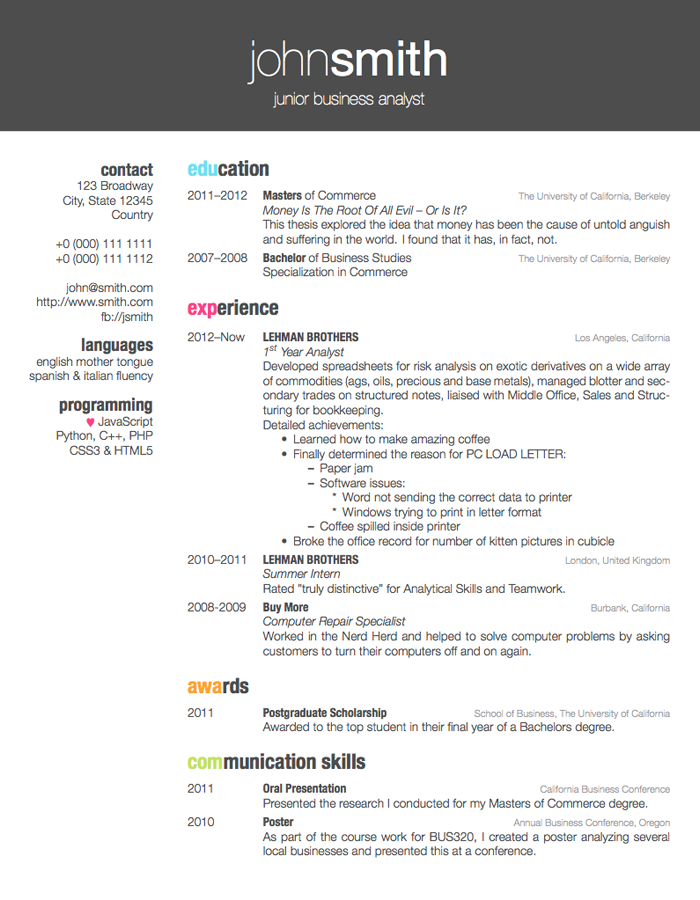 LaTeX Templates » Curricula Vitae/Résumés | Design, obviously ...