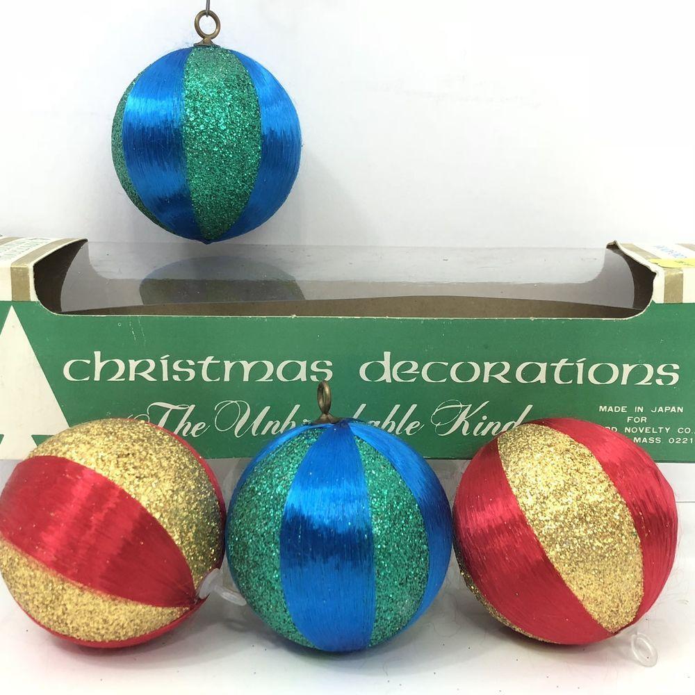 Satin Glitter Vintage Christmas Ornaments Unbreakable Mid Century Set 4 Red Blue Ebay Vintage Christmas Christmas Ornaments Vintage Christmas Ornaments