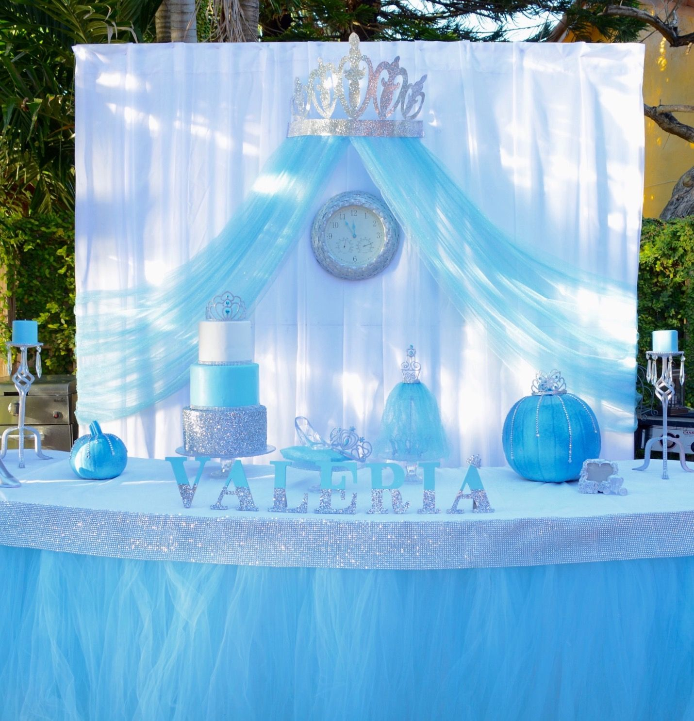 Cinderella Birthday Party Cake Table Princess Blue Girl Silver With Images Cinderella Birthday Party Cake Cinderella Birthday Party Cinderella Party Decorations
