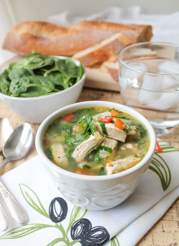 CHICKEN VEGETABLE SOUP WITH SPINACH GLUTEN FREE