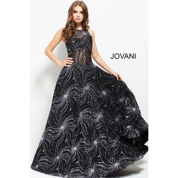 Black silver glitter A-line corset high neck bodice evening gown ...