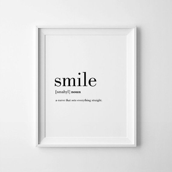 Minimalist Prints Smile Definition Posters Smile Nursery