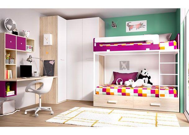 Dormitorio infantil con litera armario rinconero - Literas con armario ...