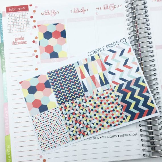 8 Geometric Red Decorative Die-Cut Sticker Squares // (Perfect for Erin Condren Life Planners)