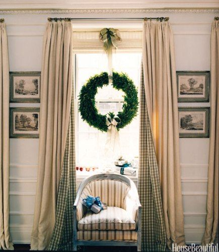 Indoor Wreaths Home Decorating: Wreath + Gingham-lined Curtain Panels - Swoon!