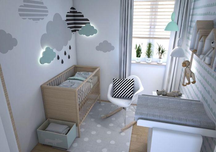 Superbe Quelles Couleurs Associer Pour Une Deco Chambre Bebe Scandinave, Petite  Chambre Avec Décoration Murale En Nuages 3D Et Meubles De Bois Clair