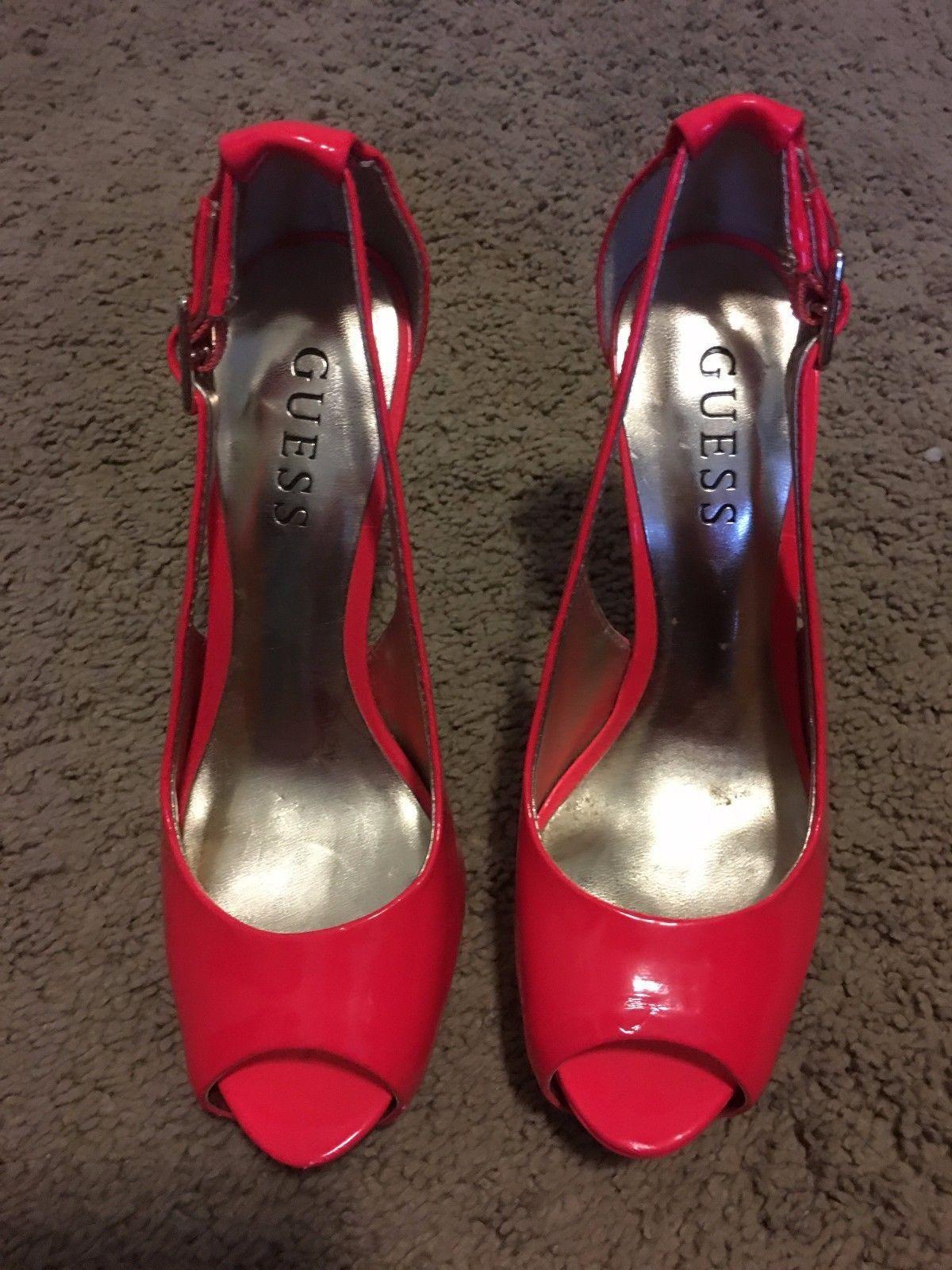 Guess Damens Schuhes Neon Pink Peep Toe Platform Heel Heel Heel Größe 5   Designer c4e214