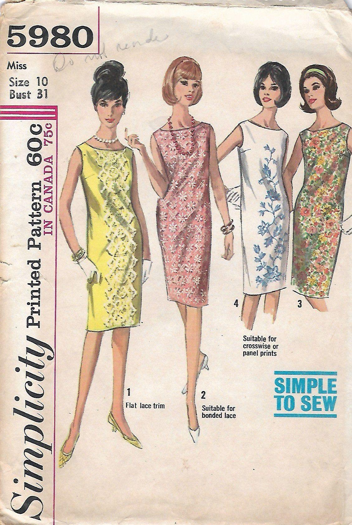 Vintage 1965 Simplicity 5980 Misses Mod One Piece Dress Sewing Etsy In 2021 Vintage Shift Dress Shift Dress Pattern Simplicity Patterns Dresses [ 1685 x 1130 Pixel ]