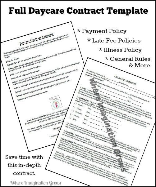 Full  Complete Daycare Handbook/Contract Template Daycare - nanny agreement contract