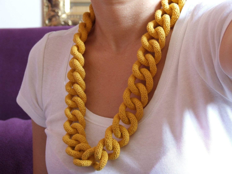 Curb Chain Crochet Necklace/Jewellery Pattern by abinocoe on Etsy ...