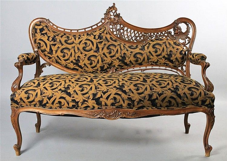 Astonishing Rococo Revival Carved Fruitwood Settee With Black And Gold Gmtry Best Dining Table And Chair Ideas Images Gmtryco