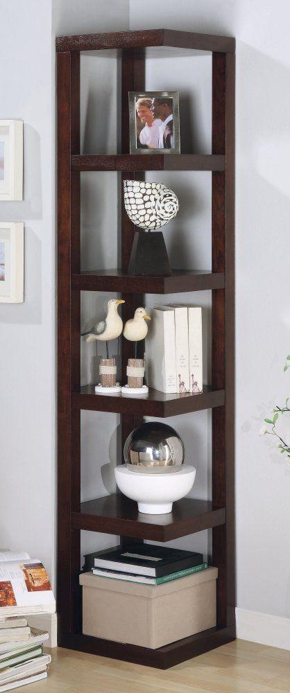 Corner Bookshelf In Cuccino Coaster