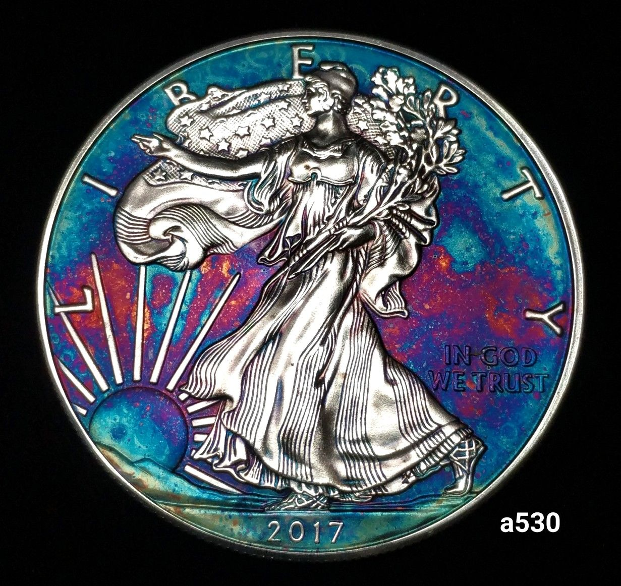 Silver American Eagle Coin 1 Troy Ounce Fine Silver High Grade Artistic Rainbow Toning Id A530 Silver Eagle Coins Eagle Coin American Silver Eagle