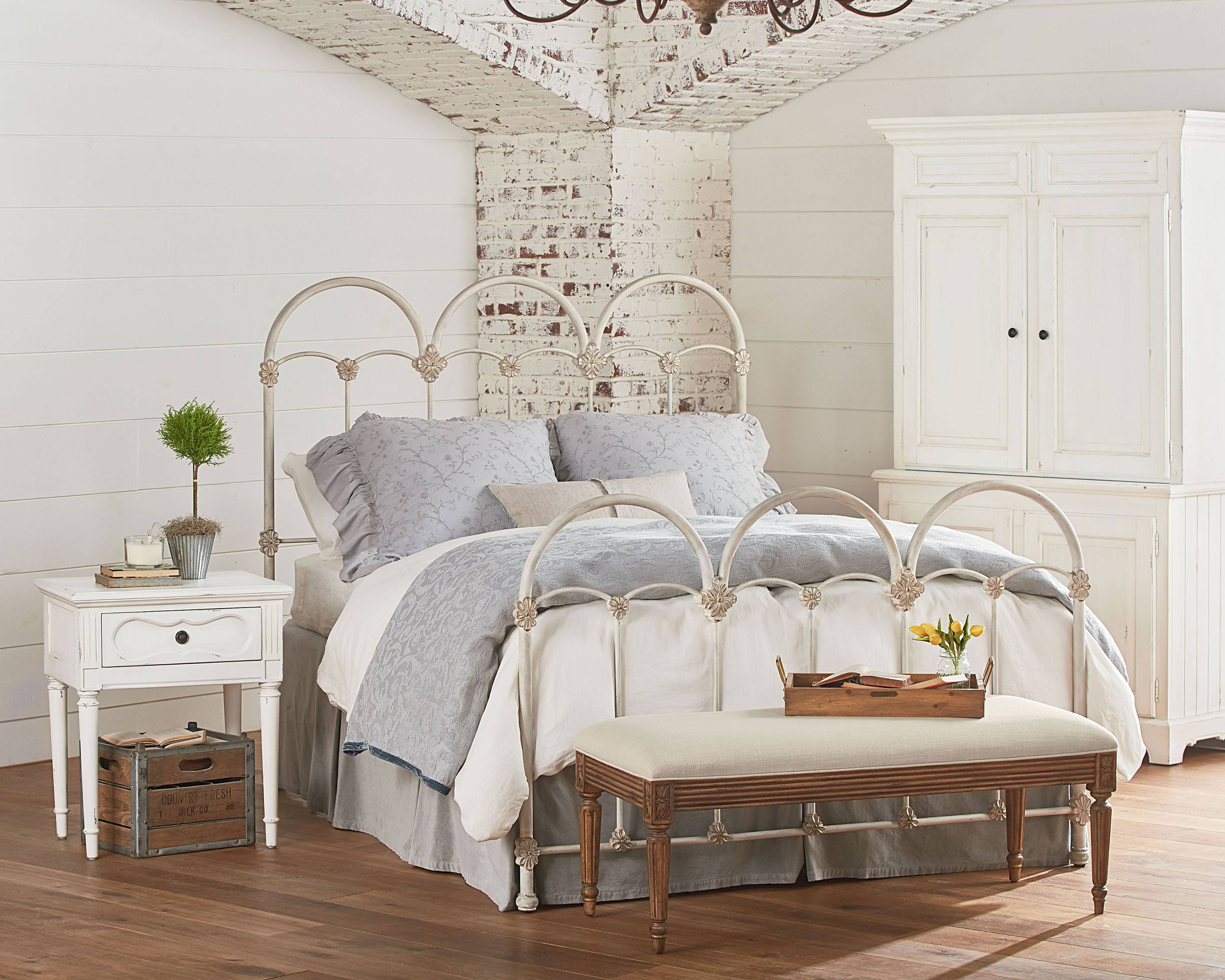 French Inspired Bedroom With Rosette Iron Bed Magnolia Home