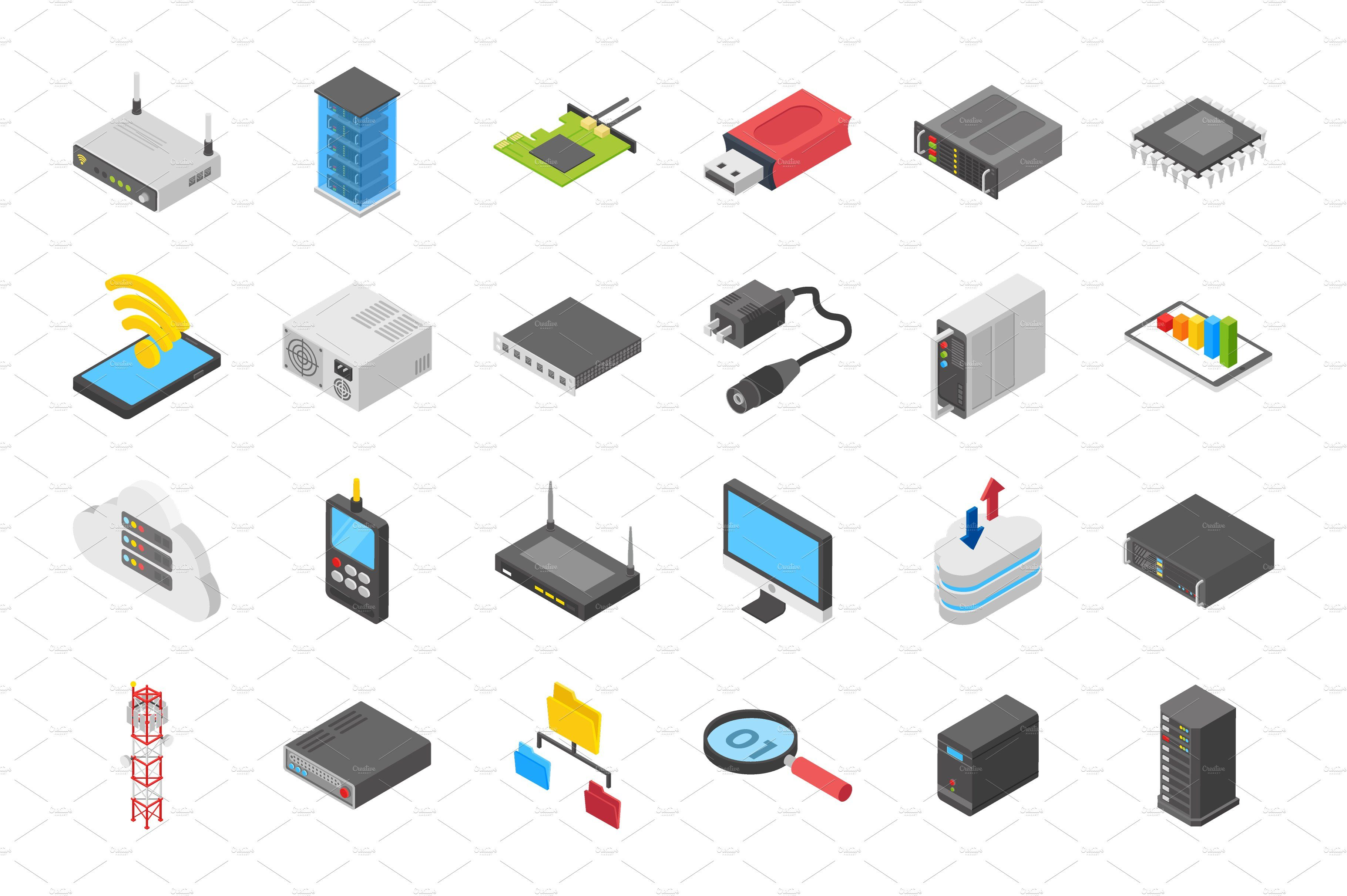 60 Networking Isometric Icons Network Icon Isometric Networking