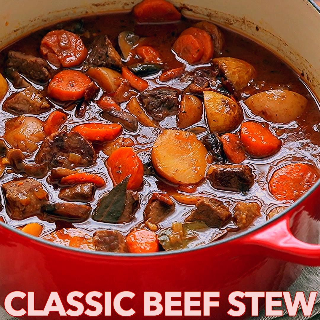 Beef Stew With Melt In Your Mouth Tender Morsels Of Beef This Is Loaded With Beef Potatoes Carrots And Mushr In 2020 Beef Stew Recipe Classic Beef Stew Stew Recipes