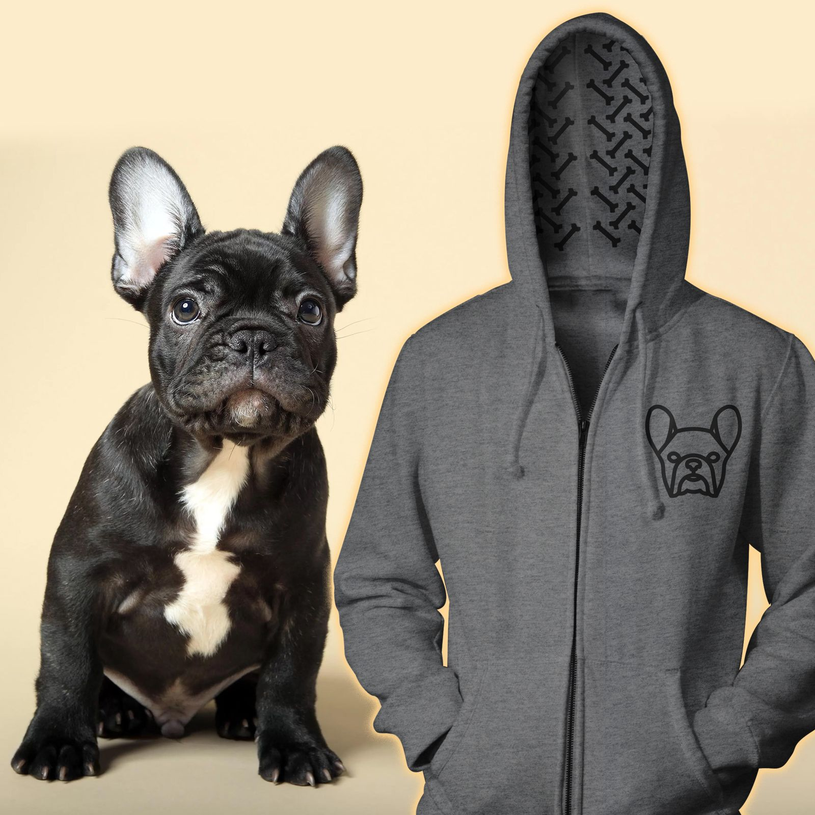 French Bulldog Hoodie Bones In the Hood. Great gift