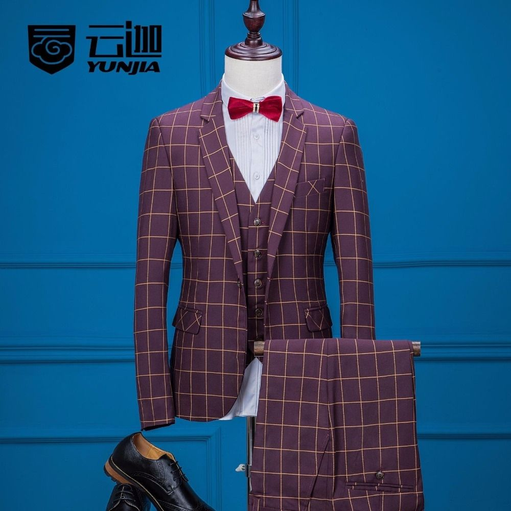 Latest Coat Pant Designs Burgundy Pattern Formal Suits For Man Custom Slim  Fit Fashion 3 Pieces Terno Jacket+Vest+Pants 219
