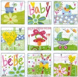 20 Serviettes Welcome Baby 33 x 33 cm