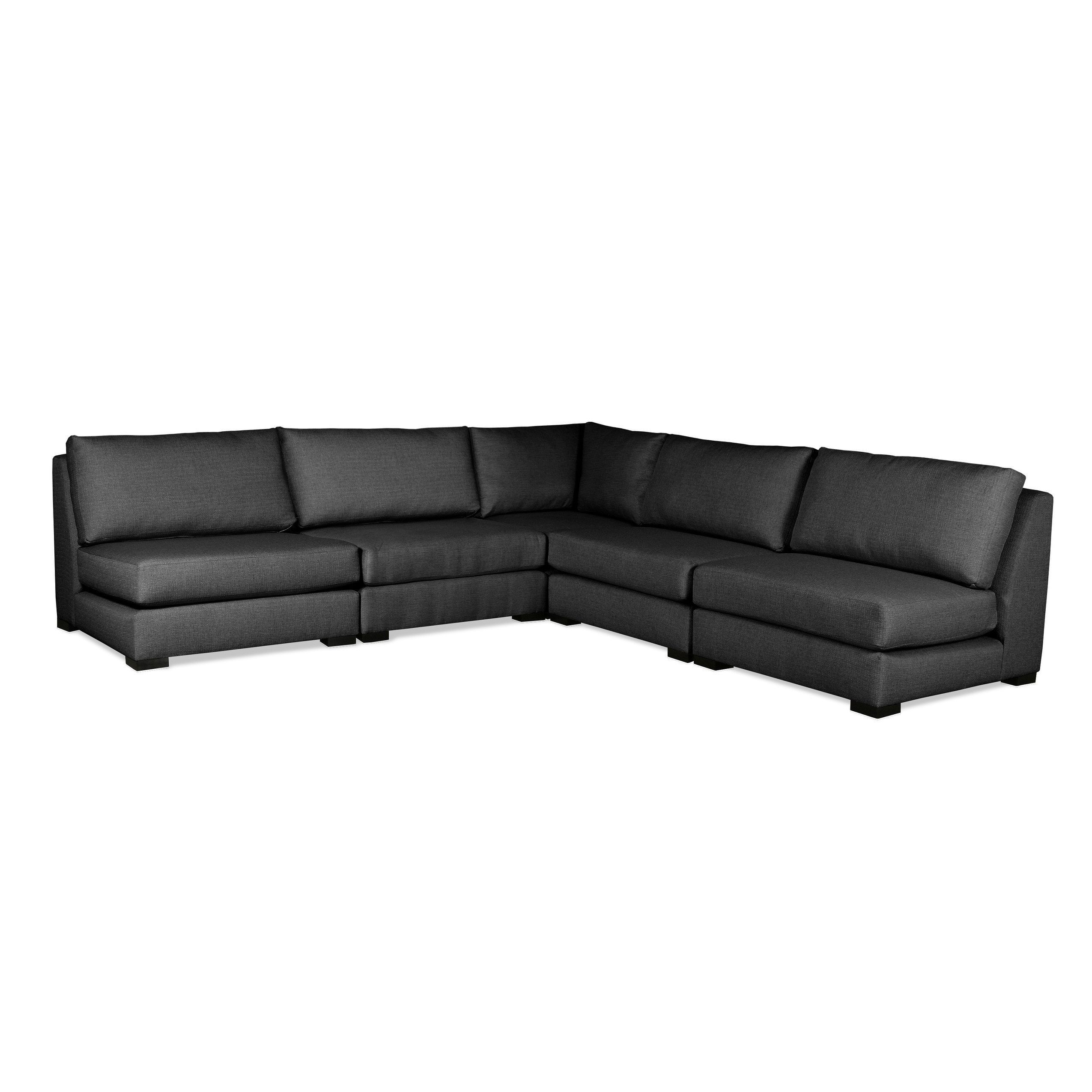 South Cone Home Yorkshire L-Shape Sectional (Charcoal), Black (Wood ...