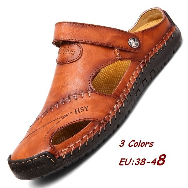 New 2019 Hot Fashion Summer Casual Solid Men Sandals Breathable Beach Shoes Big Size 38~48,Dark Bronw,11