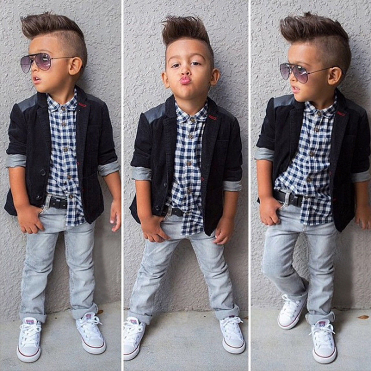 2 8y Children denim waistcoats turn down collar jacket cute baby boys clothes toddler girls vests kids top wear
