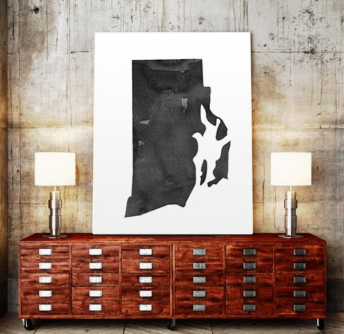 Rhode Island Map State Watercolor Painting Poster by TypoWorld