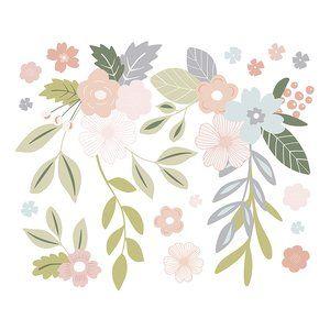 XL MädchenWandsticker 'Blumenranken' rosa/grün