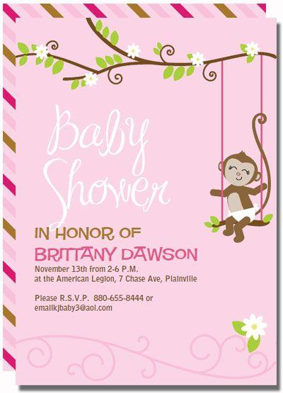 Invitation 7 pink monkey baby shower invitations parties invitation 7 pink monkey baby shower invitations filmwisefo