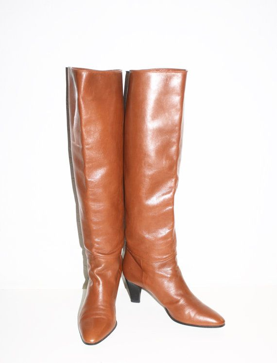 YVES SAINT LAURENT Vintage Brown Leather Tall Boots