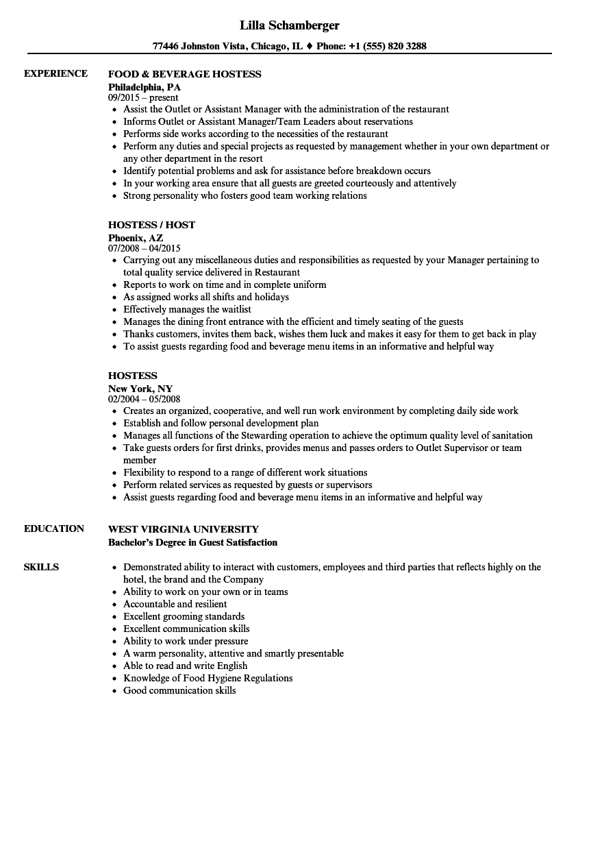 Resume Examples Hostess Resume examples, Freelance