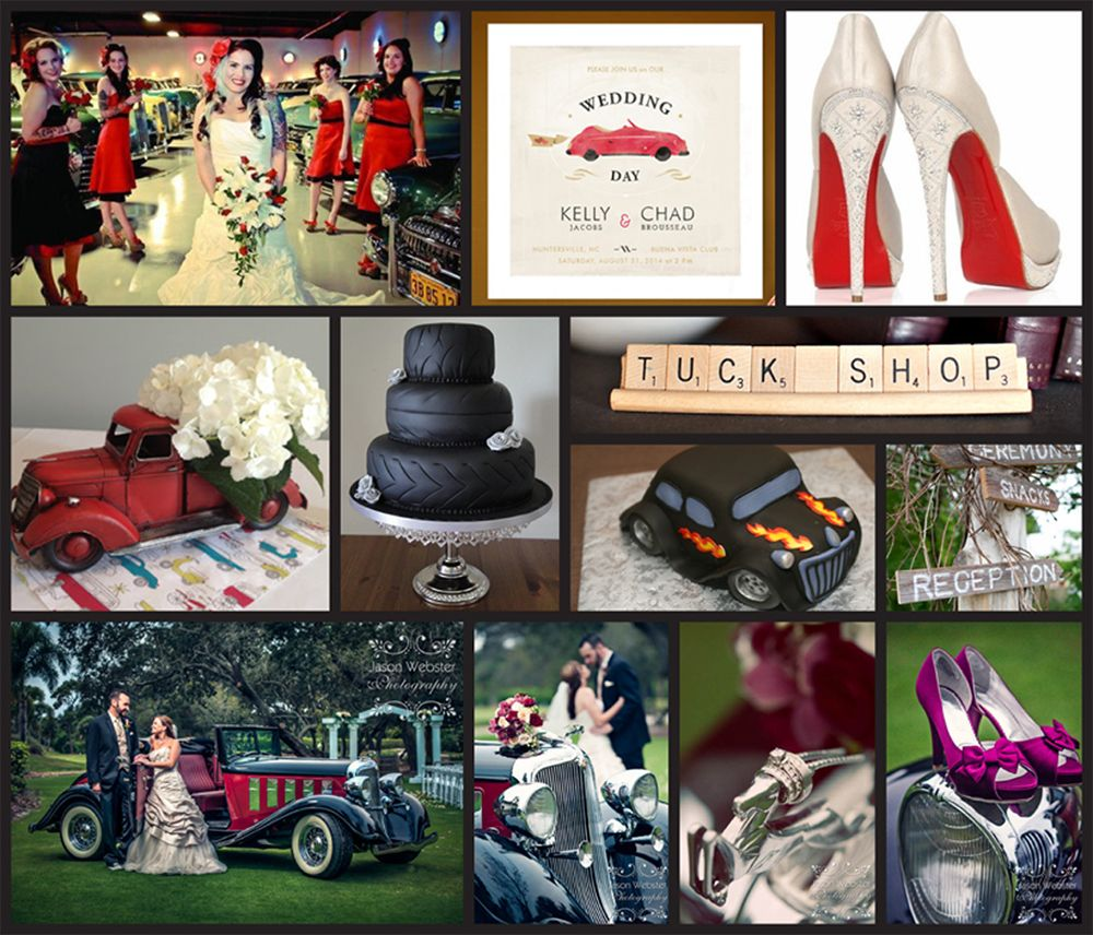 Gmail cars theme - Classic Car Themed Wedding Red Black White Silver Wedding Details 2013