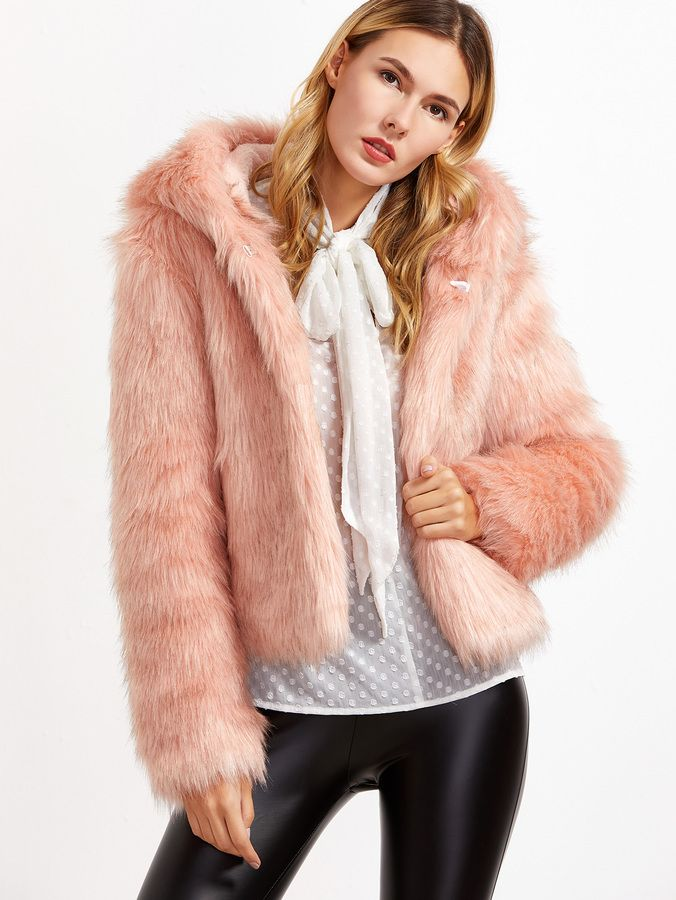 01ed32c938 Shein Pink Faux Fur Hooded Hook And Bar Coat   Coats in 2019   Pink ...